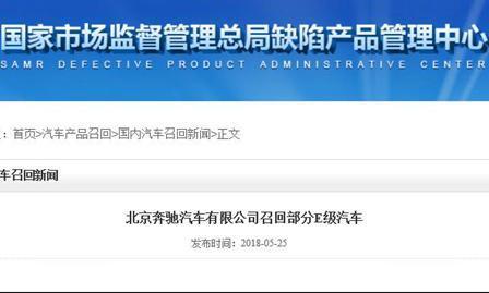 主線束存在破損隱患 北京奔馳召回860輛E級轎車