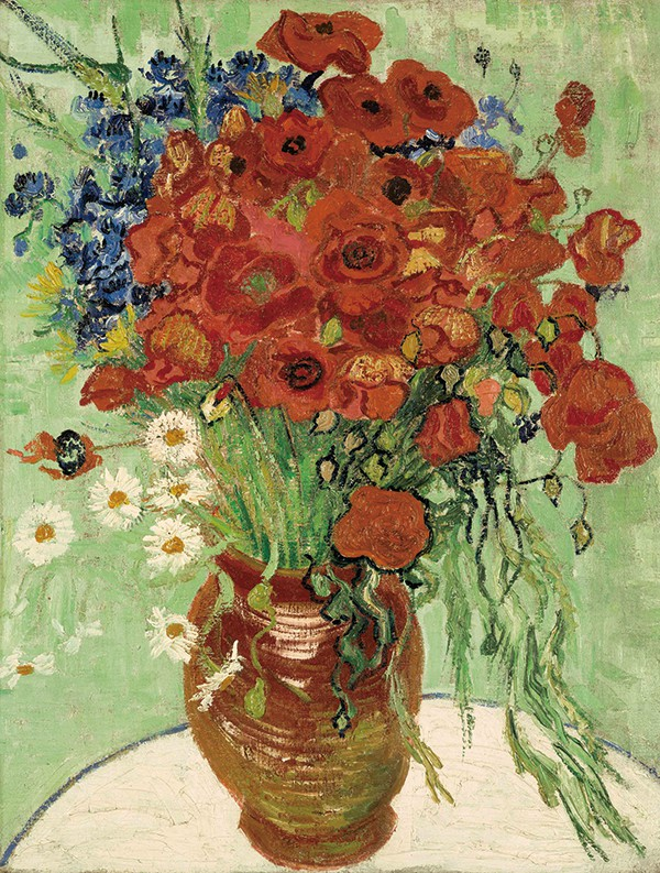 高更生前最后画作《静物,插满雏菊和罂粟花的花瓶》图片