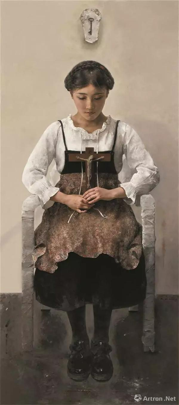 郭润文,莎拉的钥匙,油画,180cm×80cm,2017年