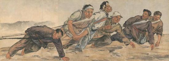 《纤夫》 李斛 水墨设色 86×234cm 1946年