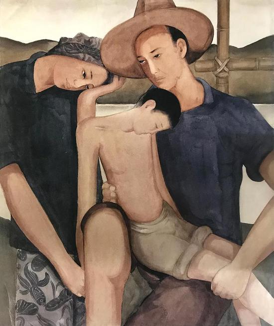 《地之子》庞薰琹水彩初稿(油画佚失)45× 37cm 1934年 庞薰琹美术馆藏