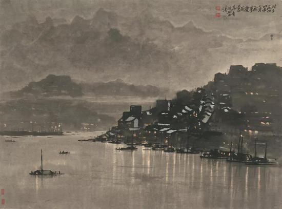 《重庆夜景》 宗其香 水墨设色 41× 55.5 cm 1944年