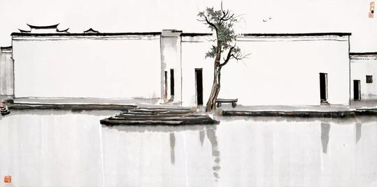 《双燕》 吴冠中 水墨设色 70×140cm 1981年