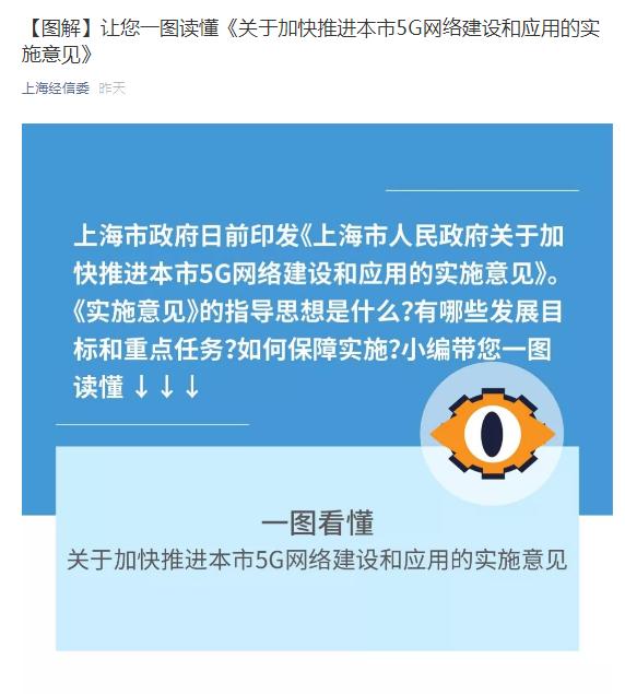 上海印发加快推进5G网络建设和应用的实施意见