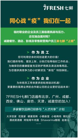 京東7FRESH全國招募臨時員工,為疫情陰霾下的服務業減負
