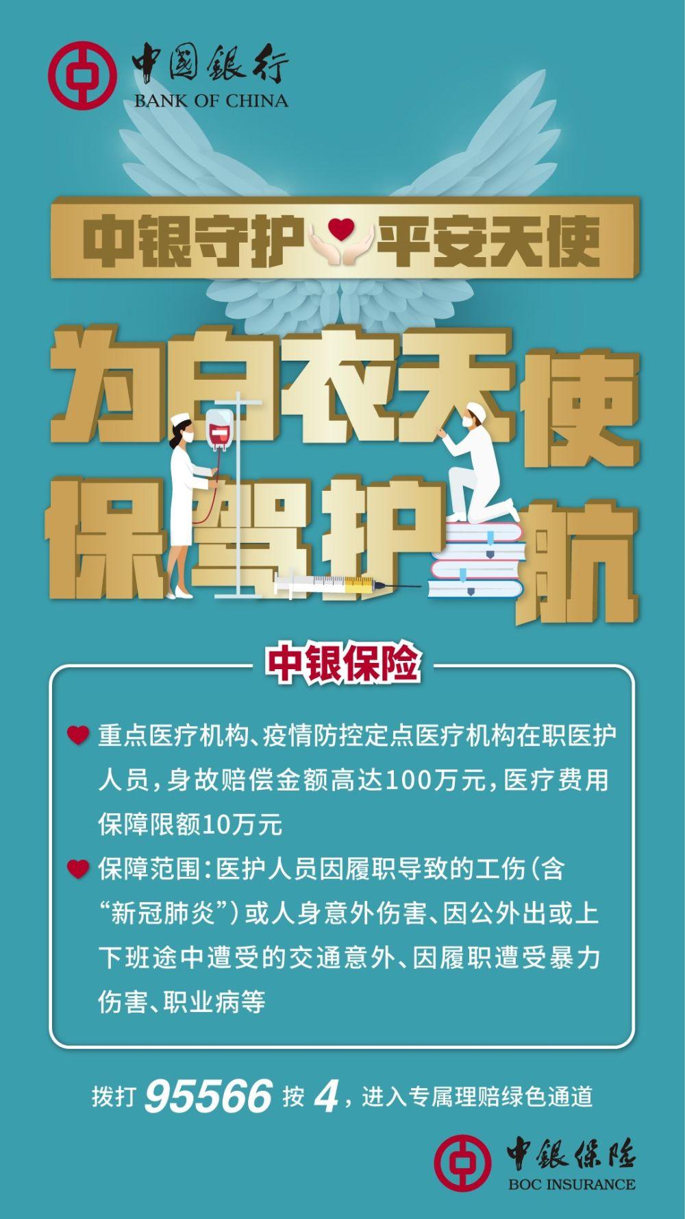 中國銀行向抗疫一線醫護人員贈送保險12萬份